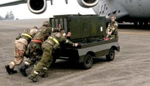 Military diesel generators are heavy, inconvenient and dangerous to transport. Image via Treehugger.com.