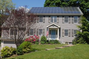 Photovoltaic solar panels on the roof of a house near Boston Massachusetts. Source: Wikipedia