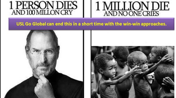 Steve Jobs life vs. 1 Million children lives. We should not wait for 0.4% of GDP getting donated by the rich countries. With URF, they get richer faster while help achieve all the MDGs goals in 5-8 years