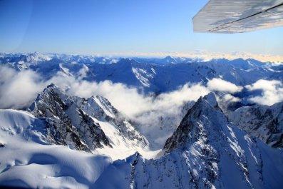 et voici les Alpes néo-zélandaises vu d'en-haut!