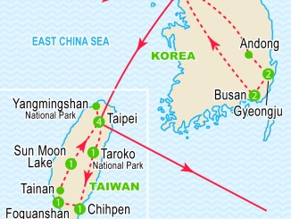 Map of South Korea and Taiwan | Image: Craig Travel
