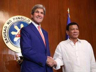 President Rodrigo Duterte and US Secretary of State John Kerry during a courtesy call at the Malacañang Palace on 27 July 2016 I Photo: King Rodriguez/PPD