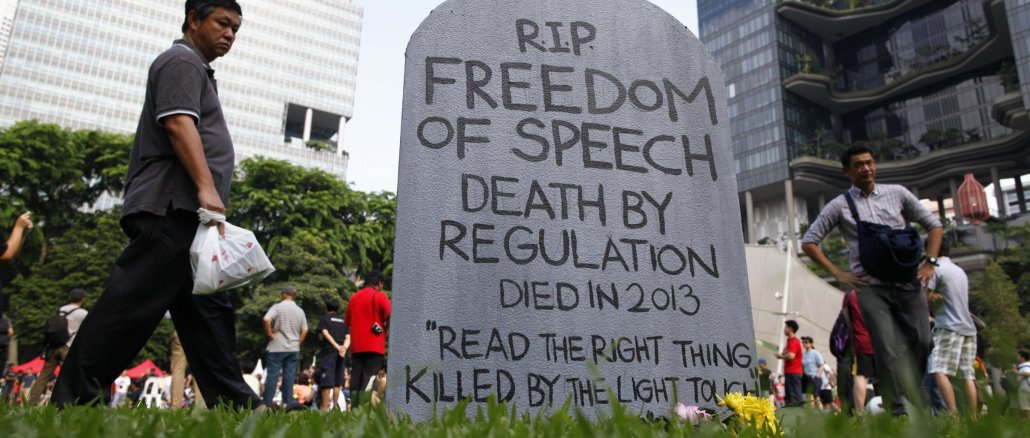 Protest against Singapore's online licensing rules in 2013   Source: The Independent