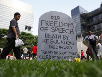 Protest against Singapore's online licensing rules in 2013 | Source: The Independent