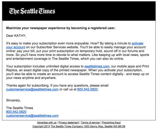 Seattle Times subscriber email