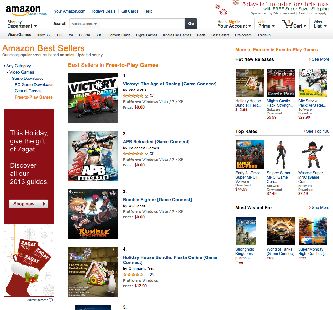 Victory is #1 Free to Play game on Amazon.com
