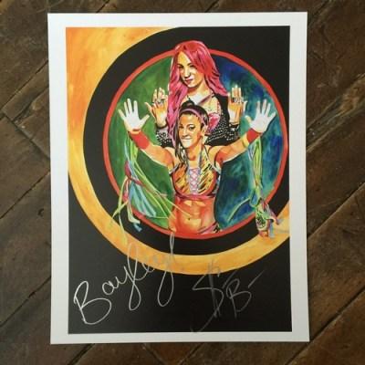 Bayley & Sasha Banks SIGNED 11 x 14 Rob Schamberger Print   WWE Auction
