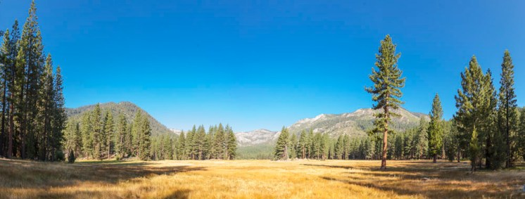 Day Nine: The picturesque meadow next to our campsite in Grover Hot Springs State Park
