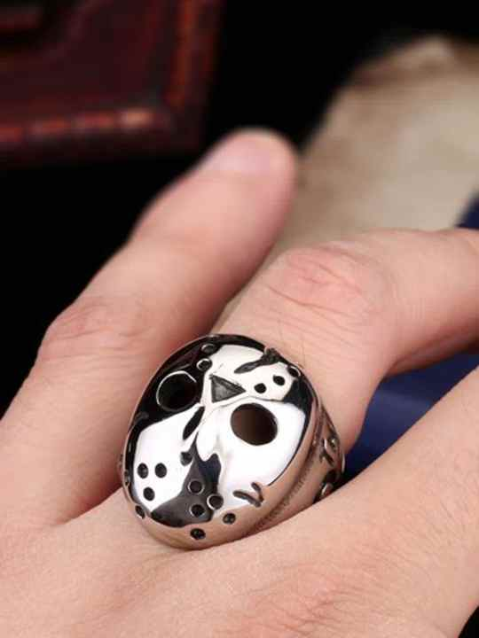 Vamers Store - Jewellery - Friday the 13th - Stainless Steel Jason Voorhees Ring - Hockey Mask - On Hand
