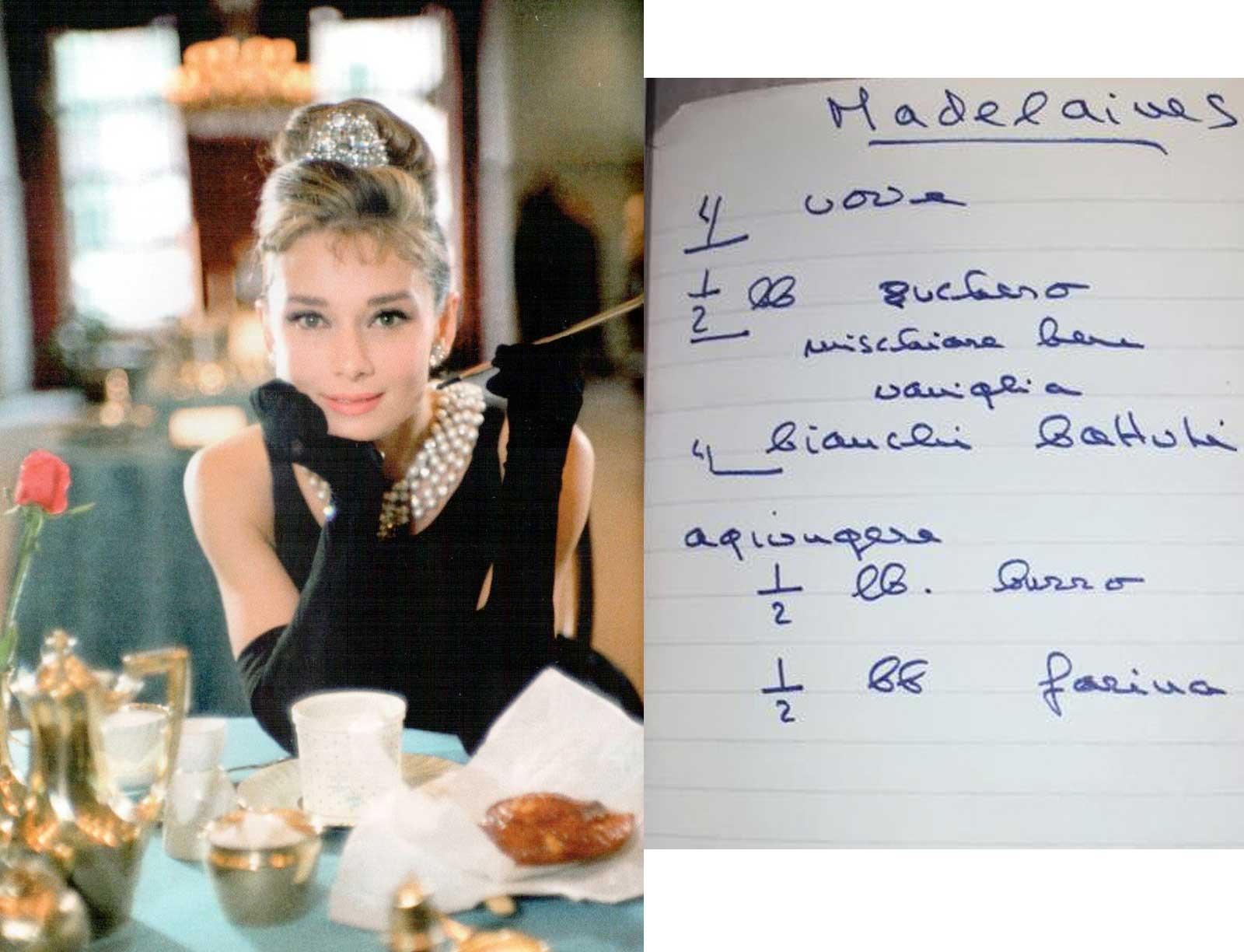A receita de madeleines, copiada por ela.