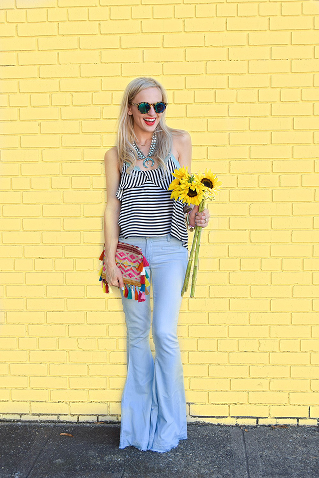 vandi-fair-blog-lauren-vandiver-dallas-texas-southern-fashion-blogger-blank-nyc-frayed-belle-yeah-belle-bottom-jeans-striped-ruffled-tank-top-baublebar-capri-amulet-necklace-1