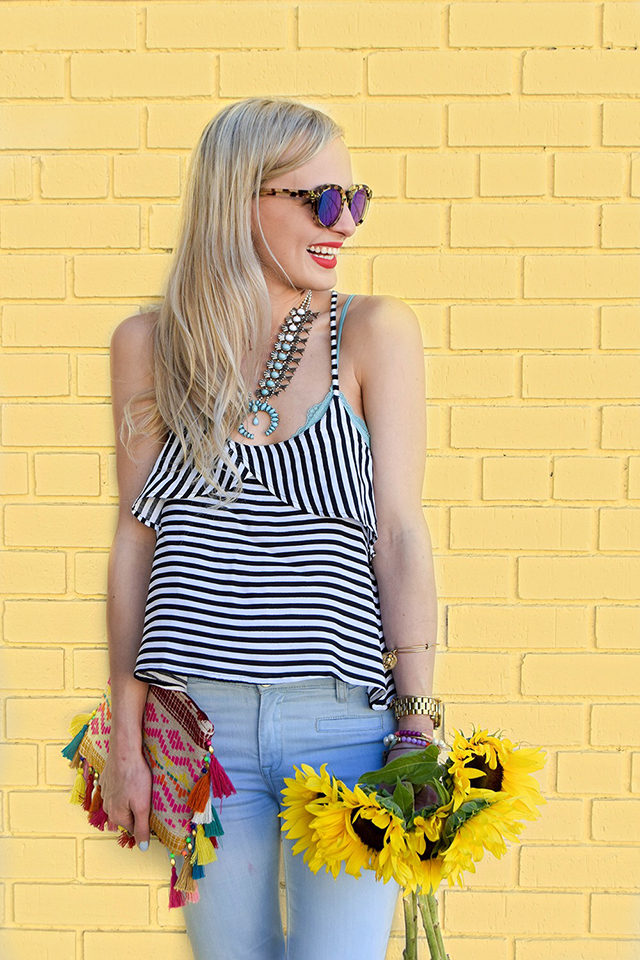 vandi-fair-blog-lauren-vandiver-dallas-texas-southern-fashion-blogger-blank-nyc-frayed-belle-yeah-belle-bottom-jeans-striped-ruffled-tank-top-baublebar-capri-amulet-necklace-3