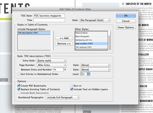 TOC style option settings