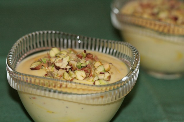 Shrikhand topped with pistachios