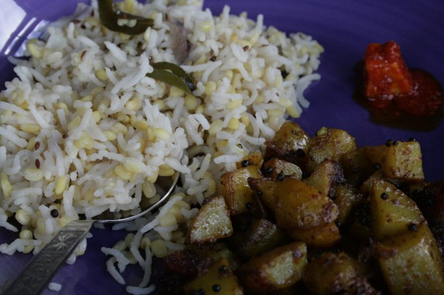 Khichdi with mustard spiced potatoes