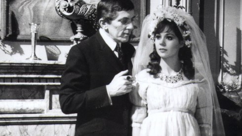 """Jonathan Frid, left, and Kathryn Leigh Scott in a 1966 episode the ABC series """"Dark Shadows."""""""