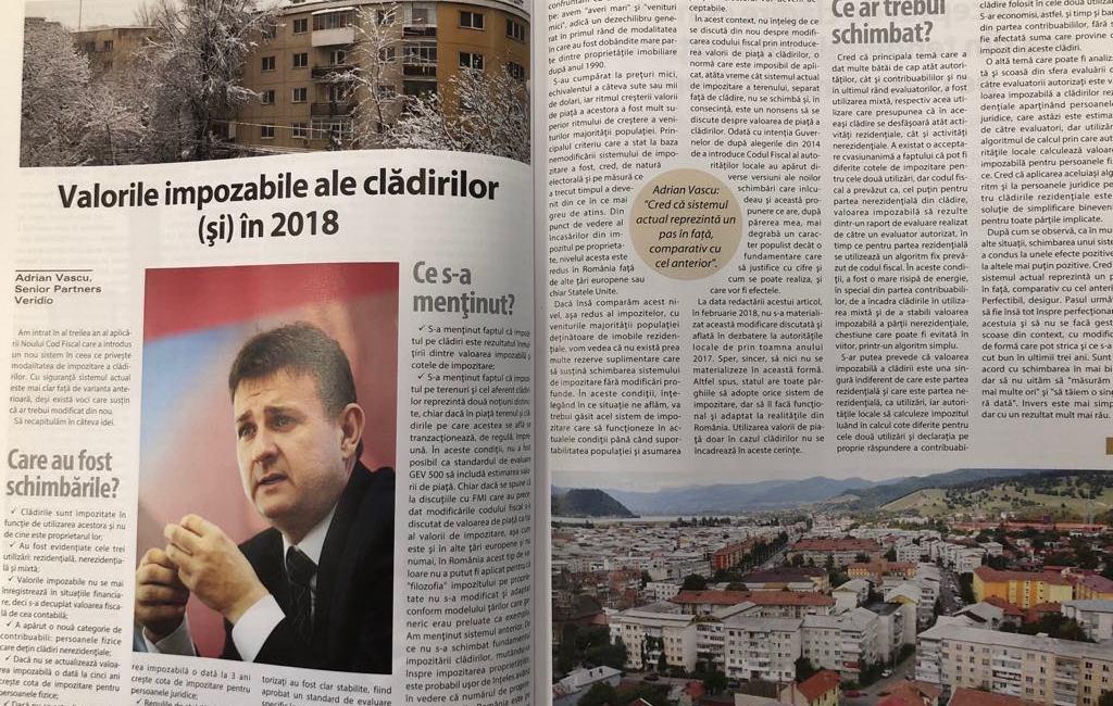 Valorile impozabile ale cladirilor (si) in 2018