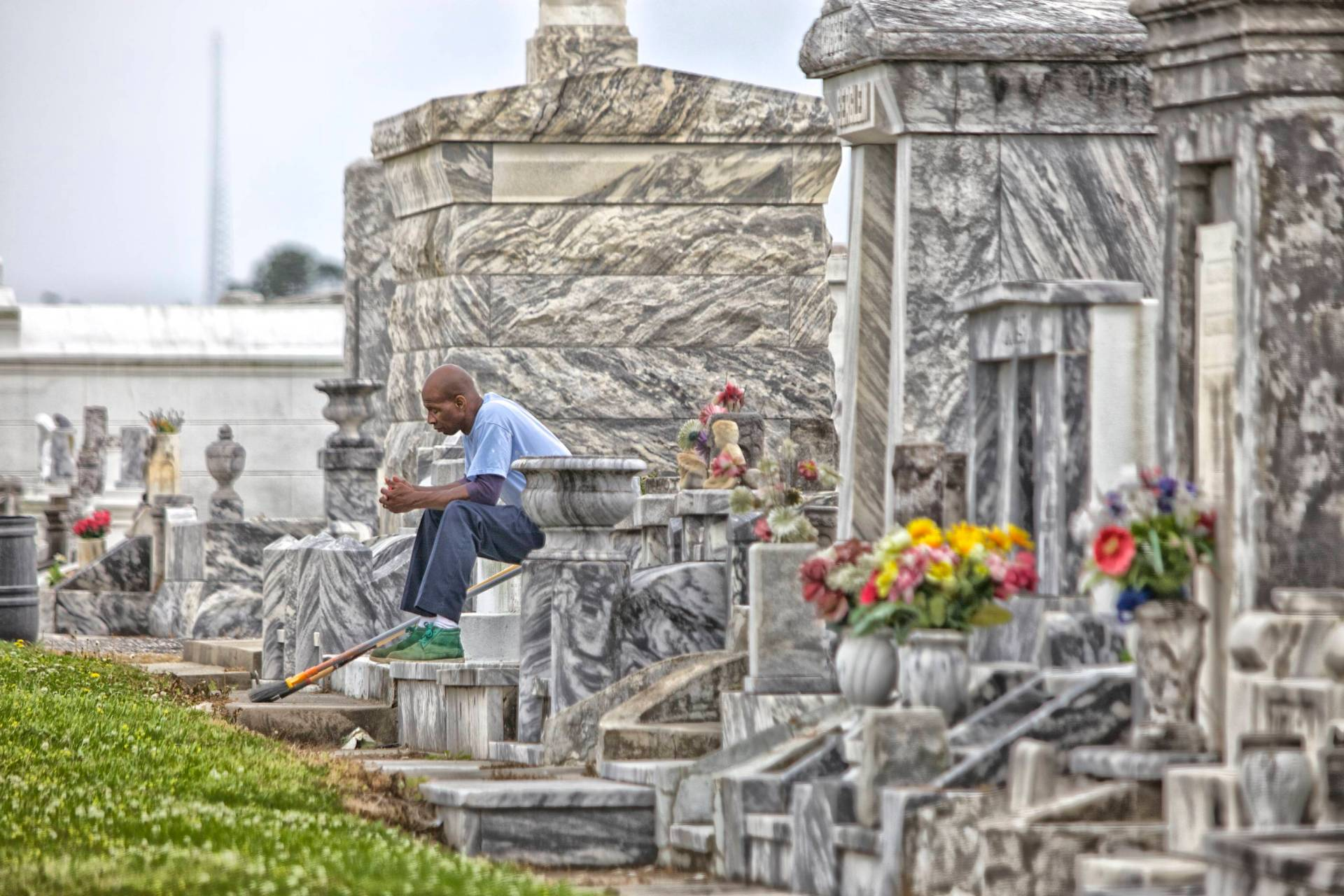 Worker at rest in New Orleans cemetery.