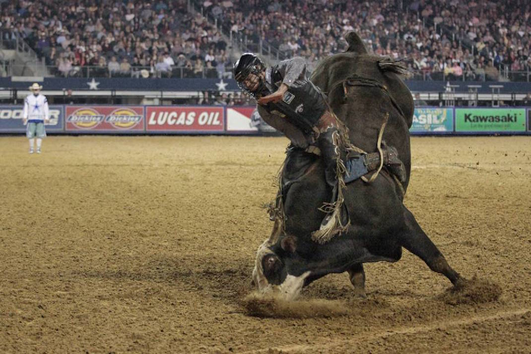 """Nose dive"" during the 2013 PBR Iron Cowboy event in Cowboy (now AT&T) stadium."