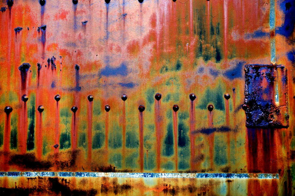 Unmanipulated image of a corroded polymer tank @ an abandoned porcelain toilet factory Kilgore, TX