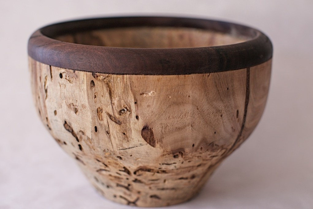 7x10 Spalted Spruce and walnut rimmed bowl.