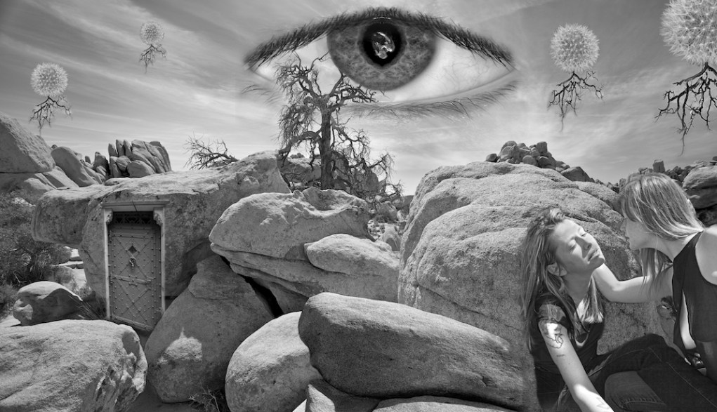 "My homage to surrealist master photographer Jerry Uelsmann. Joshua Tree Nat'l Park with additions including my oldest daughter Melissa and the combined image of my 2 youngest eyes as ""the all seeing eye in the sky"""