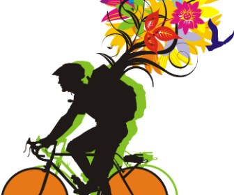 Bikers with Flower Vector Graphic