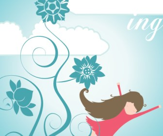 Dreaming Girl Illustration Background