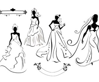 Free Vector Wedding Dresses Illustration