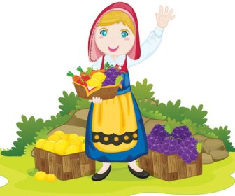 Vector Girl selling fruits