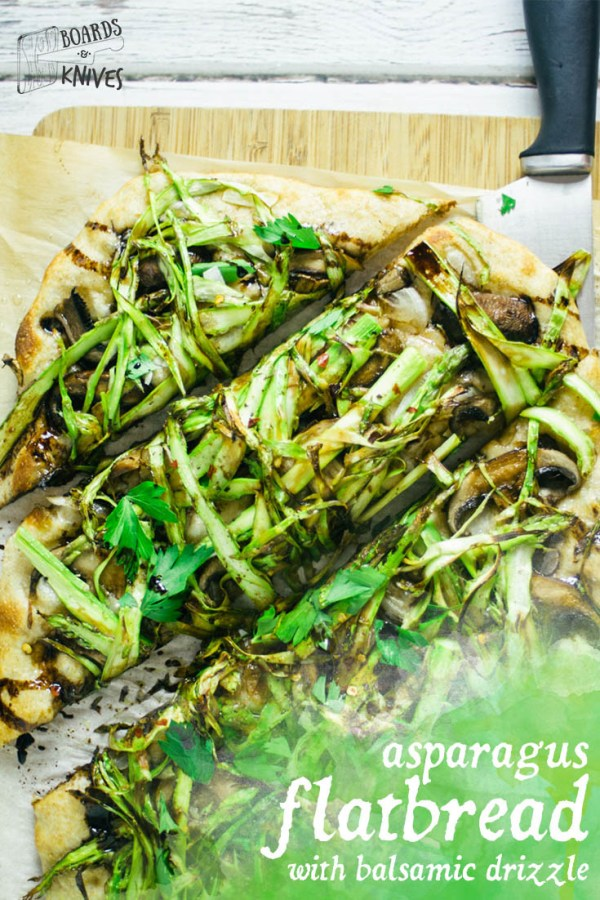 Mushroom Asparagus Flatbread with Balsamic Glaze