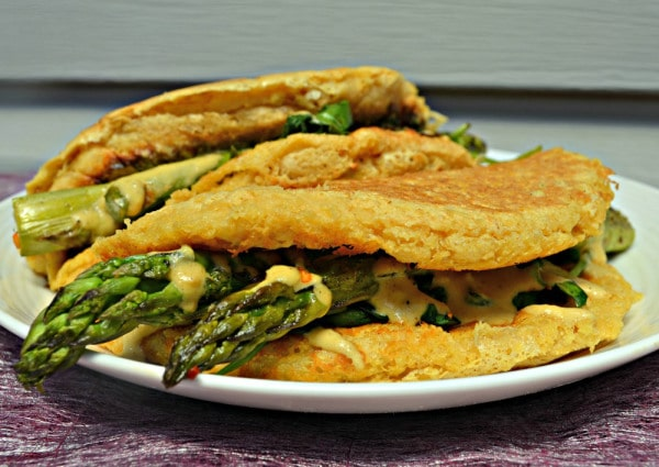 Vegan Omelette with Asparagus, Spinach and Cheese