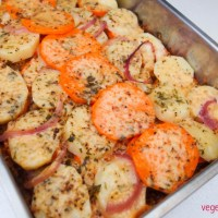 Potato and sweet potato bake