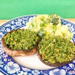 Portobello mushroom with pesto and veg mash