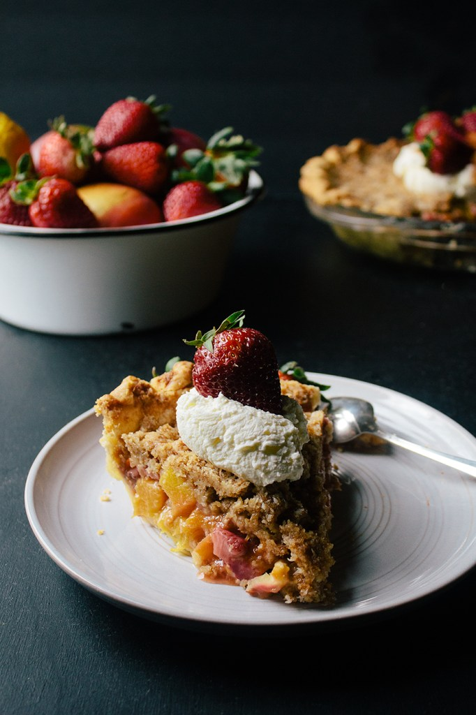Mango Strawberry Pie with Coconut Crumb Topping