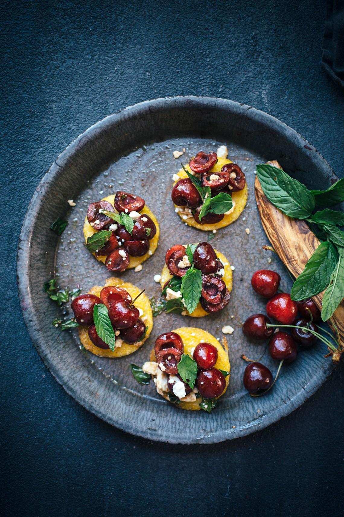 Cherry Mint Polenta Bruschetta