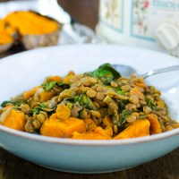 Slow Cooker Lentil Soup with Baked Sweet Potato