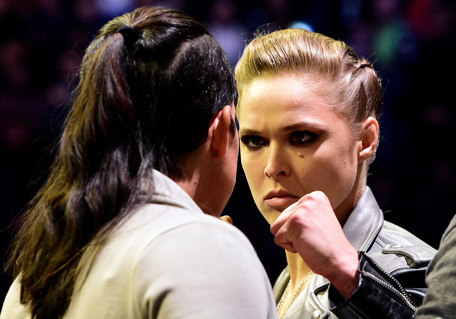 NEW YORK, NY - NOVEMBER 11: (R-L) UFC 207 opponents Ronda Rousey and Amanda Nunes face off during the UFC 205 weigh-in inside Madison Square Garden on November 11, 2016 in New York City. (Photo by Mike Roach/Zuffa LLC/Zuffa LLC via Getty Images)