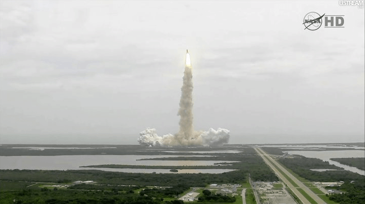 Screenshot of space shuttle launch from NASA TV