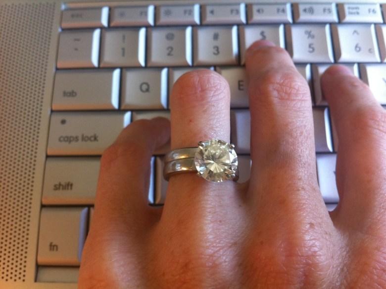 diamond ring on keyboard