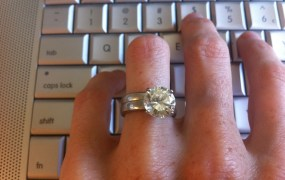 diamond ring on keyboard