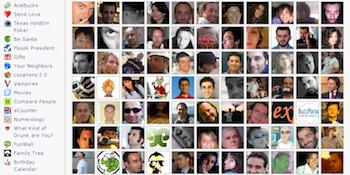 Screenshot showing many facebook friends