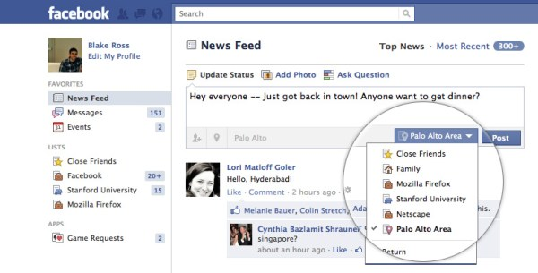 Facebook List News Feed
