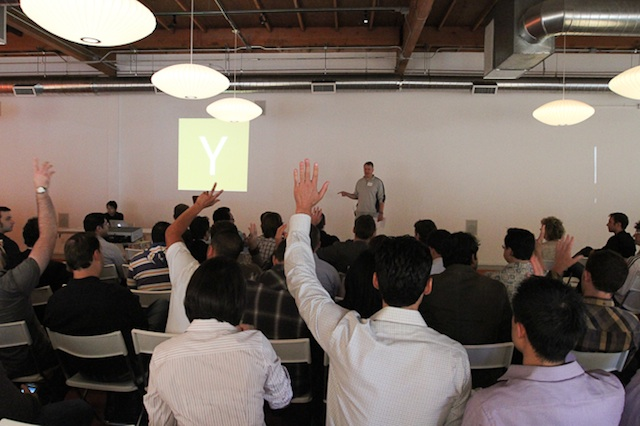 Paul Graham of Y Combinator addresses the crowd