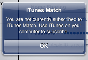 iTunes Match notification