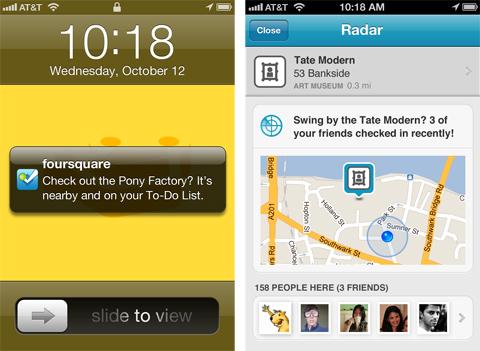 Foursquare, Radar