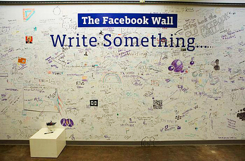 The graffiti-covered wall at Facebook HQ