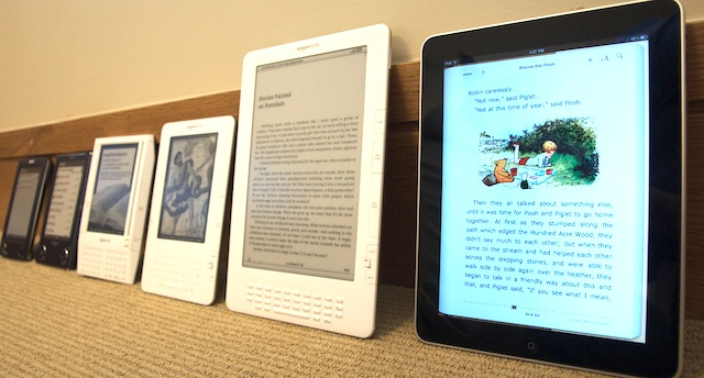 Photo showing the evolution of e-book readers