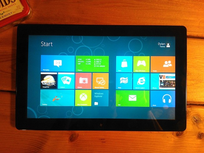 Photo of a Windows 8 tablet showing the Start screen