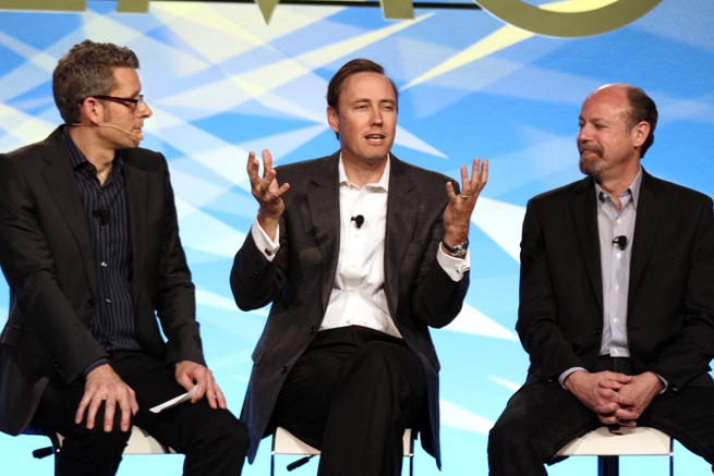 Matt Marshall, Steve Jurvetson, and Jody Holtzman speaking on a panel at DEMO Spring 2012
